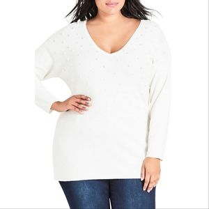 New City Chic Pretty Pearl Sweater -Plus Size S/16